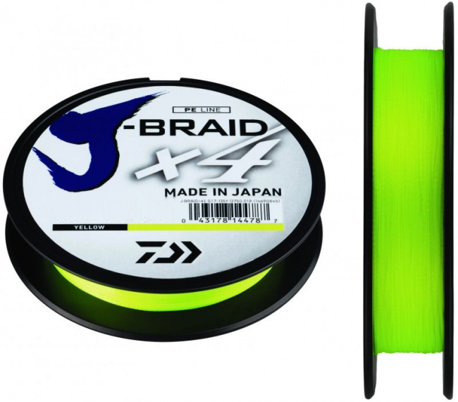 Плетеный шнур J-Braid X4 135м (12,4кг) 0,21мм fluo yellow - фото